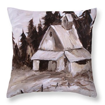 Sepia Barn Throw Pillow