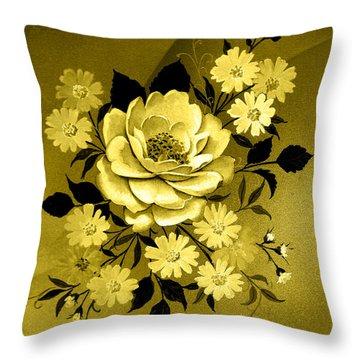 Sepia Bouquet Throw Pillow