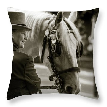 Sepia Carriage Horse With Handler Throw Pillow