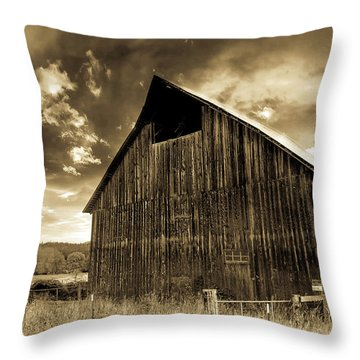 Sepia Historic Barn Throw Pillow