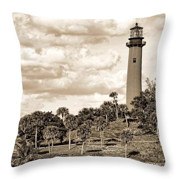 Sepia Lighthouse Throw Pillow by Rudy Umans