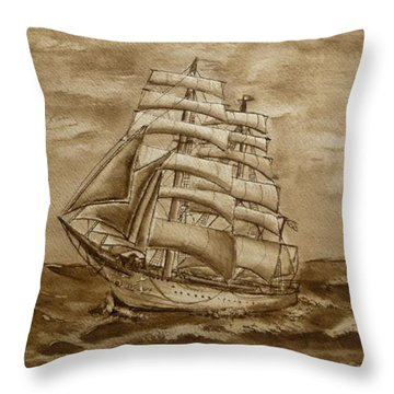 Throw Pillow featuring the painting Sepia Oceans Fury by Kelly Mills