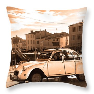 Sepia Old French Car Throw Pillow