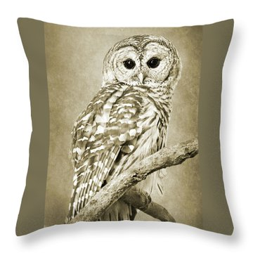 Sepia Owl Throw Pillow