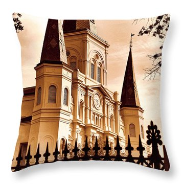Sepia St. Louis Cathedral Throw Pillow