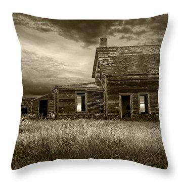 Sepia Tone Of Abandoned Prairie Farm House Throw Pillow