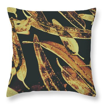Sepia Toned Image Of Floating Eucalyptus Leaves Throw Pillow