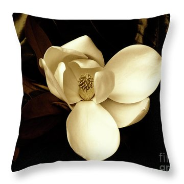 Sepia-toned Magnolia Throw Pillow