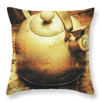 Sepia Toned Old Vintage Domed Kettle Throw Pillow