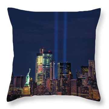 Throw Pillow featuring the photograph September 11tribute In Light by Emmanuel Panagiotakis