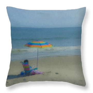September Beach Reader Throw Pillow