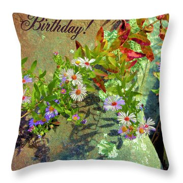September Birthday Aster Throw Pillow by Kristin Elmquist
