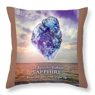 September Birthstone Sapphire Throw Pillow