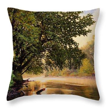 September Dawn, Little Sioux River - Studio Painting Throw Pillow