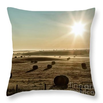 Throw Pillow featuring the photograph September Hay by Brad Allen Fine Art