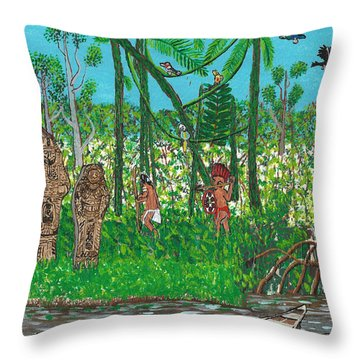 September   Hunters In The Jungle Throw Pillow