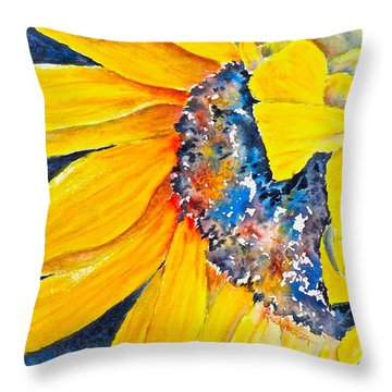 Throw Pillow featuring the painting September Sunflower by Carolyn Rosenberger