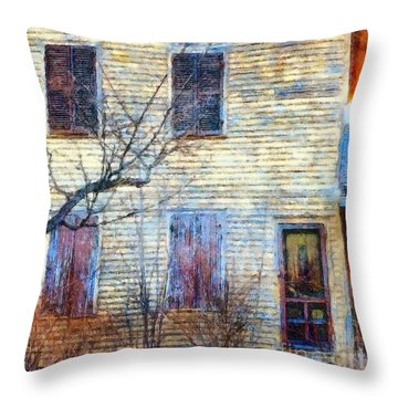 Throw Pillow featuring the photograph September's Gone - Yellow Farmhouse Windows by Janine Riley