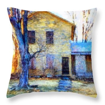 Throw Pillow featuring the photograph September's Song - Yellow Farmhouse  by Janine Riley