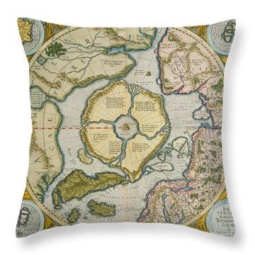 Septentrionalium Terrarum Descriptio Throw Pillow by Gerardus Mercator