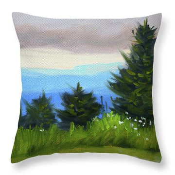 Throw Pillow featuring the painting Sequim Vista by Nancy Merkle