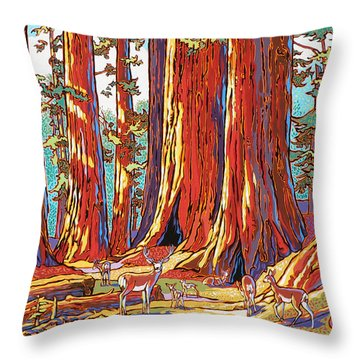 Sequoia Deer Throw Pillow by Nadi Spencer