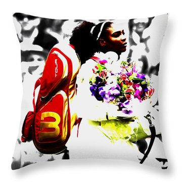 Serena Williams 2f Throw Pillow by Brian Reaves