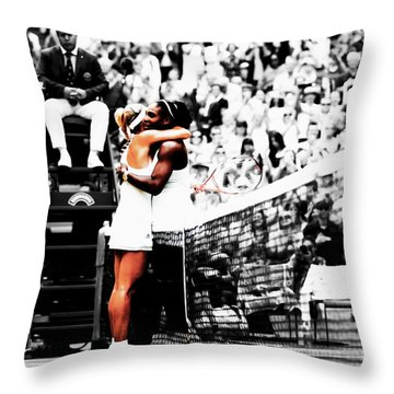 Serena Williams And Angelique Kerber 1a Throw Pillow by Brian Reaves