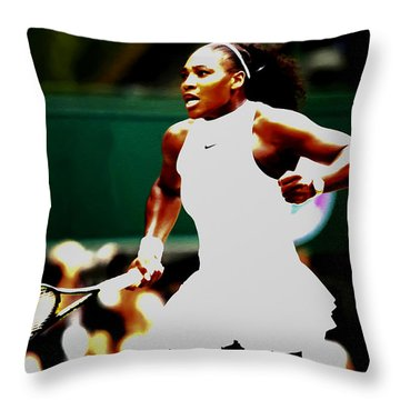 Serena Williams Making History Throw Pillow by Brian Reaves