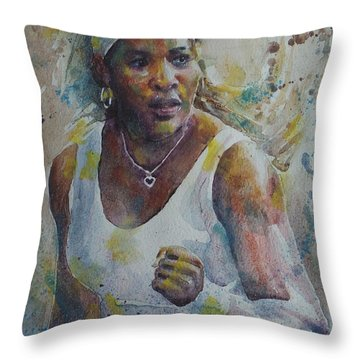 Serena Williams - Portrait 5 Throw Pillow