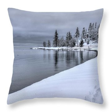Throw Pillow featuring the photograph Serene Beauty Of Lake Tahoe Winter by Peter Thoeny