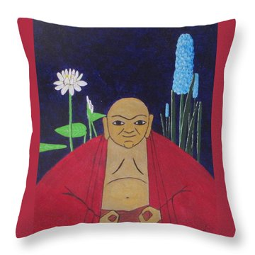 Throw Pillow featuring the painting Serene Buddha by Hilda and Jose Garrancho