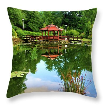 Serene Garden Throw Pillow