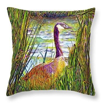 Serene Goose Dreams Throw Pillow