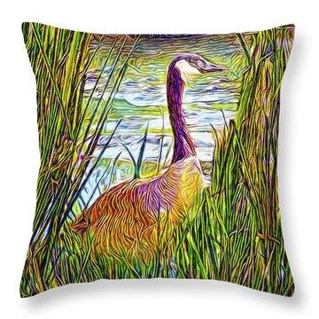 Serene Goose Dreams Throw Pillow by Joel Bruce Wallach