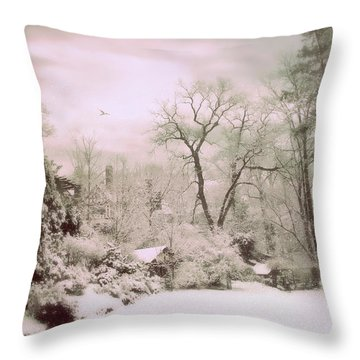 Throw Pillow featuring the photograph Serene In Snow by Jessica Jenney