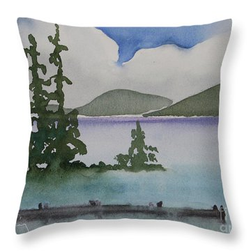 Serene Morning On Lake Superior Throw Pillow