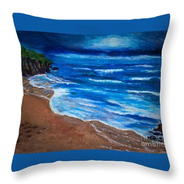 Serene Seashore Throw Pillow