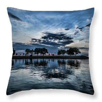 Serene Summer Water And Clouds Throw Pillow