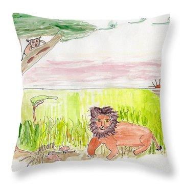 Serengeti Cats Throw Pillow