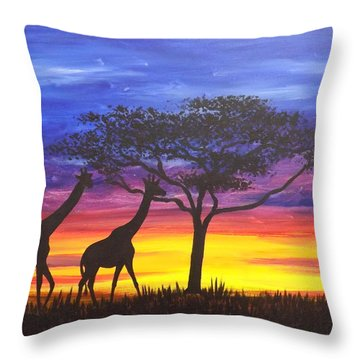 Serengeti Sunset Throw Pillow by Darren Robinson