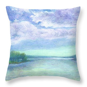 Serenity Blue Lake Throw Pillow