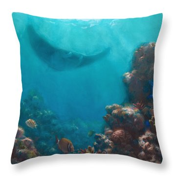 Serenity - Hawaiian Underwater Reef And Manta Ray Throw Pillow