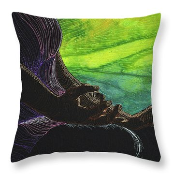 Throw Pillow featuring the tapestry - textile Serenity by Jo Baner