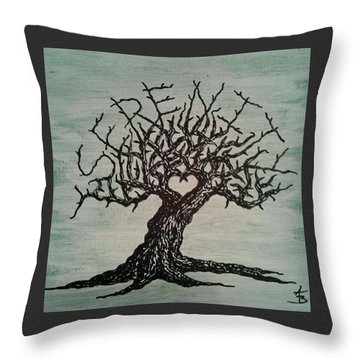 Throw Pillow featuring the drawing Serenity Love Tree by Aaron Bombalicki