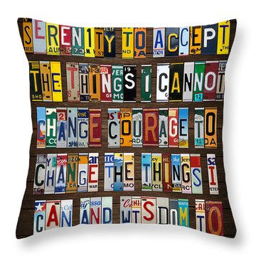 Serenity Prayer Inspiration Words Vintage Recycled License Plate Art Lettering Phrase Throw Pillow