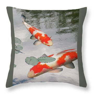 Serenity - Red And White Koi Throw Pillow by Gill Billington