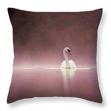 Serenity - Swan On A Foggy Sunset Throw Pillow