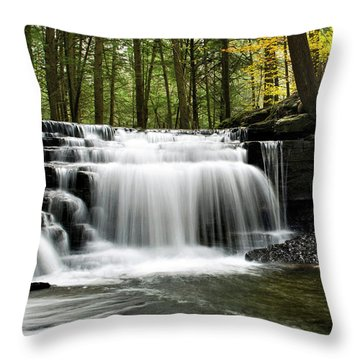 Throw Pillow featuring the photograph Serenity Waterfalls Landscape by Christina Rollo