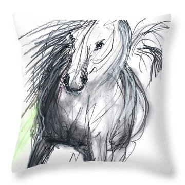 Throw Pillow featuring the mixed media Sergei by Carolyn Weltman